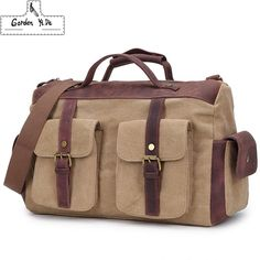 406.50$  Watch here - http://alijgb.worldwells.pw/go.php?t=32697784597 - Vintage military Canvas Leather men travel bags Carry on Luggage bags Men Duffel bags travel tote large weekend Bag Overnight