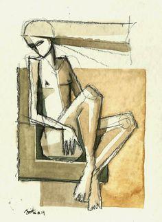 gesto: mulher com cabelos ondulados café , carvão, conté, sobre montval 300g, http://rogbessa.blogspot.com.br/
