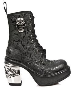 New Rock M8358-S1 NRK Skull Boots  100% Leather Boots Free Worldwide Shipping