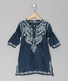Navy & White Embroidered Silk Dress - Toddler & Girls | Daily deals for moms, babies and kids