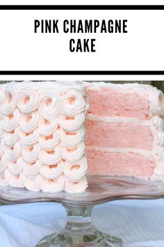 Preheat the oven to 350 degrees, grease and flour 3 (8 inch) pans 3 cups (342 g) cake flour 1 Tablespoon (15 g) baking powder 1/2 teaspoon (2g) salt 6 egg whites (194g) 1 cup (242g) pink champagne, I used Andre Blush Champagne 2 teaspoons (8 g) vanilla 2 Tablespoons vegetable oil (18 g) 2 cups (400 g) sugar 1 cup (2 sticks) (226 g) unsalted butter Small amount of pink food color, I used AmeriColor Deep Pink but any pink would be fine. I added the color with a toothpick, just a small amount will Cake Recipes For Beginners, Cake Recipes For Kids, Healthy Cake Recipes, Homemade Cake Recipes, Best Cake Recipes, Cake Recipe With Sour Cream, Easy Vanilla Cake Recipe, Chocolate Cake Recipe Easy, Cake Recipes Without Milk