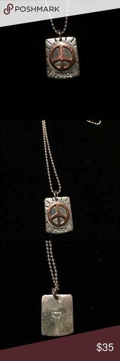 PEACE sign in copper on stamped silver necklace Peace sign in copper on a silver background. Trendy boho hippie.  Cute piece!! Jewelry Necklaces