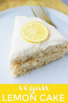 Vegan Lemon Cake with dairy free cream cheese frosting! Perfect for Spring, Summer and lemon lovers everywhere. #vegancake #plantbased