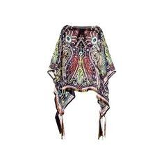 etro silk chiffon bright paisley print summer poncho/cover-up~OS