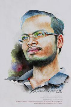 My Friend Arjun Singh - hand-drawn water color painting by artist Kamal Nishad info@kamalnishad.com 9501247988