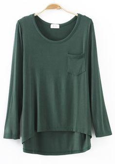 Army Green Plain Pockets Long Sleeve T-Shirt