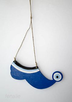 Charouhi wooden blue shoe mati-evil eye dimension 20χ9cm