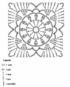 Talk on LiveInternet - Russian Service Online Diaries Crochet Motif Patterns, Crochet Blocks, Granny Square Crochet Pattern, Crochet Diagram, Crochet Chart, Crochet Squares, Love Crochet, Crochet Granny, Crochet Flowers