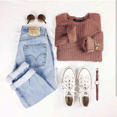 love the faded levis and chunky sweater - Outfits - Teenage Outfits, Teen Fashion Outfits, Outfits For Teens, Womens Fashion, Latest Fashion, Dress Fashion, Fashion Top, Emo Outfits, Sweater Fashion