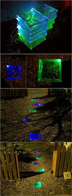 How to Make Colored Solar Powered Walkway #garden #path #decor #walkway