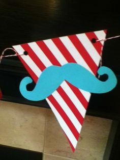 HANDMADE moustache pennant banner FATHER'S DAY little man First Birthday baby shower graduation Red and Aqua Sale Sale Sale. $18.99, via Etsy.