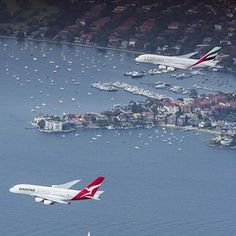 Historic Sydney Harbour A380 flyby featuring superjumbos from Qantas and Emirates,