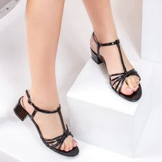 Sandale dama cu toc negre Demalia