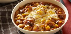 Chunky Chicken Chili recipe - try it for a bowl of tastiness! Our Slow-Cooker Chunky Chicken Chili recipe fits into your smart eating plan and is convenient. Crock Pot Slow Cooker, Crock Pot Cooking, Slow Cooker Chicken, Slow Cooker Recipes, Crockpot Recipes, Cooking Recipes, Healthy Recipes, What's Cooking, Cooking Zucchini