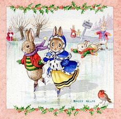 rabbits ice skating with pink and holly border