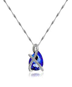Look at this Navy & White Gold Teardrop Necklace With Crystals From SWAROVSKI on #zulily today!