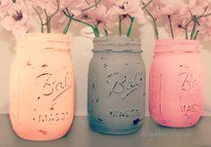 Wedding Decorations, 3 Painted Mason Jars, Centerpiece Decor,Baby Shower Centerpeice,Peach and Pink,Vase,Bridal Decor on Etsy, $15.00