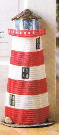 NAUTICAL DOORSTOP Plastic Canvas Lighthouse PATTERN by M2Hawk, $1.00