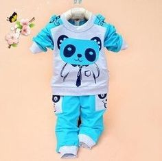 Girls and boys suit baby panda cartoon casual long-sleeved striped t-shirt + pants 2pcs / set Kids Set Free Shipping