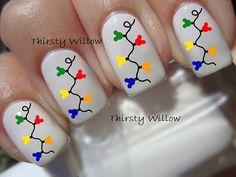 mickey christmas lights nail decals by thirstywillow on etsy disney christmas nails holiday nails - Disney Christmas Nails