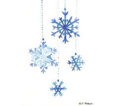 Snowflakes watercolor inspiration from Etsy