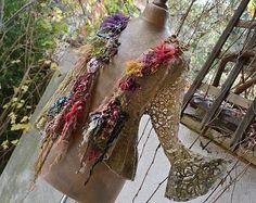 Schöne Kunst zum tragen weibliche einzigartige Olive Spitzen elastische Jacke Herbst Blumen Fee Antoinette Gipsy Boho zerfetzt