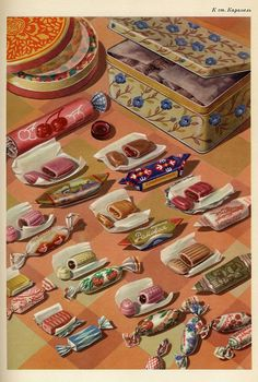 Sweets from a Soviet Dry Goods Catalogue Retro Recipes, Vintage Recipes, Vintage Advertisements, Vintage Ads, Bonbons Vintage, Vintage Food Posters, Vintage Sweets, Retro Poster, Food Illustrations