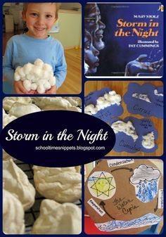 storm in the night storybook activities, learning with five in a row, watercycle, weather unit Preschool Weather, Weather Activities, Preschool Science, Science Classroom, Literacy Activities, Weather Lessons, Homeschool Kindergarten, Homeschooling, Five In A Row