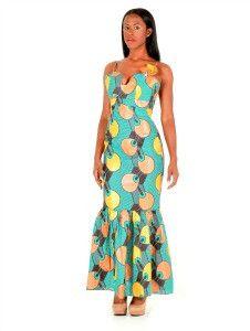 Green And Brown Ankara Print African Maxi Dress