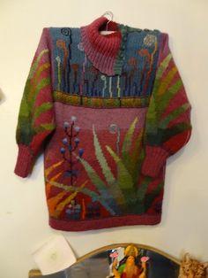 Billedresultat for sirkka könönen Knitting Designs, Knitting Projects, Knitting Patterns, Intarsia Knitting, Baby Knitting, Form Crochet, Knit Crochet, Knitting Blocking, Knit Art