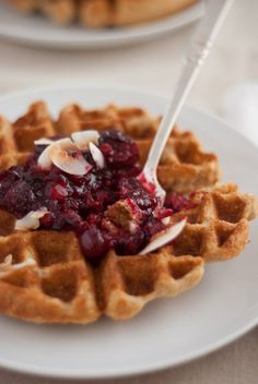 coconut waffles with cranberry sauce recipe