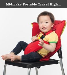 9d95c4a4fe1 Midmake Portable Travel High Chair Booster Baby Seat Accessories Harness  Safety Washable Cloth Packable Sack.