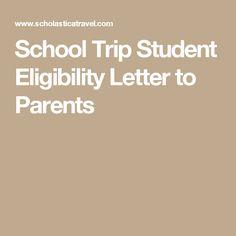School Trip Student Eligibility Letter to Parents