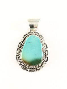 Sterling Silver Native American Navajo Indian Royston Turquoise Pendant. Signed