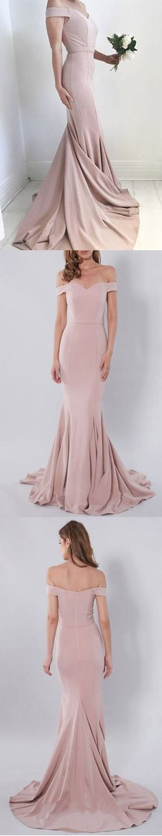 Charming Off the Shoulder Blush Pink Mermaid Sexy Long Bridesmaid Dresses, PM0231