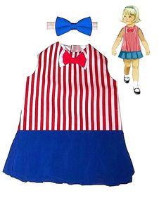 Dapper Disney Cruise Sailor 1950's red stripe Patriotic July dress  2T- 8yrs #PrettyElegance #DisneyBoundCruiseParty