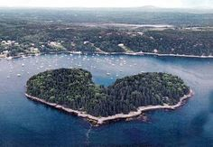 Harbor Island in Maine. Heart shaped private island rental.
