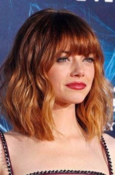 Short Red Ombre Haircut with Bangs Ombre Bob Haircut, Haircut For Thick Hair, Haircuts With Bangs, Wavy Hair, Red Hair With Bangs, Red Bangs, Dark Ombre Hair, Best Ombre Hair, Ombre Hair Color