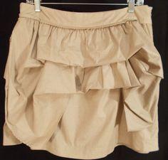 Large RYU: for Anthropologie skirt. Ruffled tan.  $24.99 Steampunk vibe. Fashion forward.