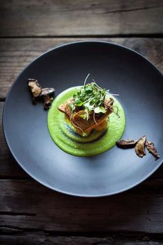 Swirl a bed of spring pea sauce with truffle oil, lemon and tarragon onto your plate, top with new p... - Feasting at Home