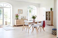 Ruokapöytä KALBY 90x160/250 vaalea tammi