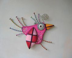 Hey, I found this really awesome Etsy listing at https://www.etsy.com/listing/225591697/pink-sparrow-original-found-object