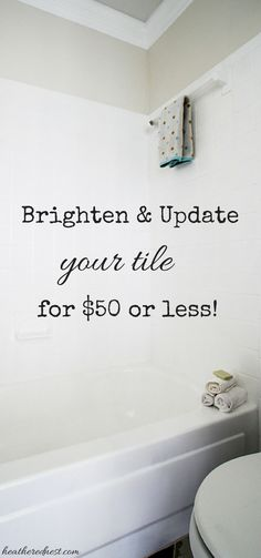 Outdated, dingy, tired, ugly tile? Lucky for you there is a way to update it for $50 or less!!!  It's EASY!  Get the whole low down on this easy, affordable project by Heather in her One Room Challenge Week Challenge Blog Post! Learn more about this kit here: http://www.rustoleum.com/product-catalog/consumer-brands/specialty/tub-and-tile-refreshing-kit/