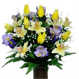 White Mum and Light Blue Hydrangea Mix (Silk Cemetery Flowers)