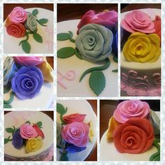 Happy Mother's Day Cake - Close up on each fondant rose which was made with one petal attached at a time.