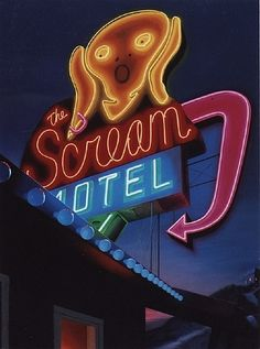 The Scream Motel, vintage neon sign