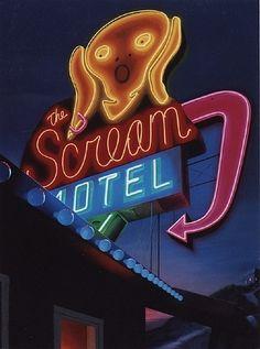 The Scream Motel, vintage neon sign