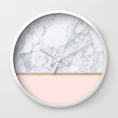 Marble Gold Blush Pink Pattern Wall Clock . Find it on @society6 . pattern, marble, black and white, gold, pillow, bedroom, bedroom decoration, dorm , bed, pillowcases, modern, stylish pillows, trendy pillows, interior design, home decor, home style.clock ..