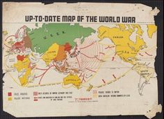 """Japanese WWI map in English. """"Up-to-date map of the world war."""" In English and Japanese. 1942? World War, 1939-1945--Maps. """"Supplement to all dailies published by Manila Shinbun-sha""""."""