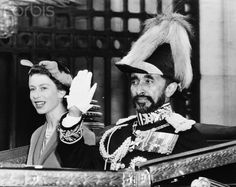 Haile Selassie with Queen Elizebeth. #royalty